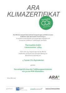 ARA Klimazertifikat
